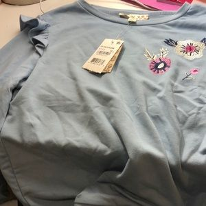Other - Ruffled shoulder embroidery long sleeve
